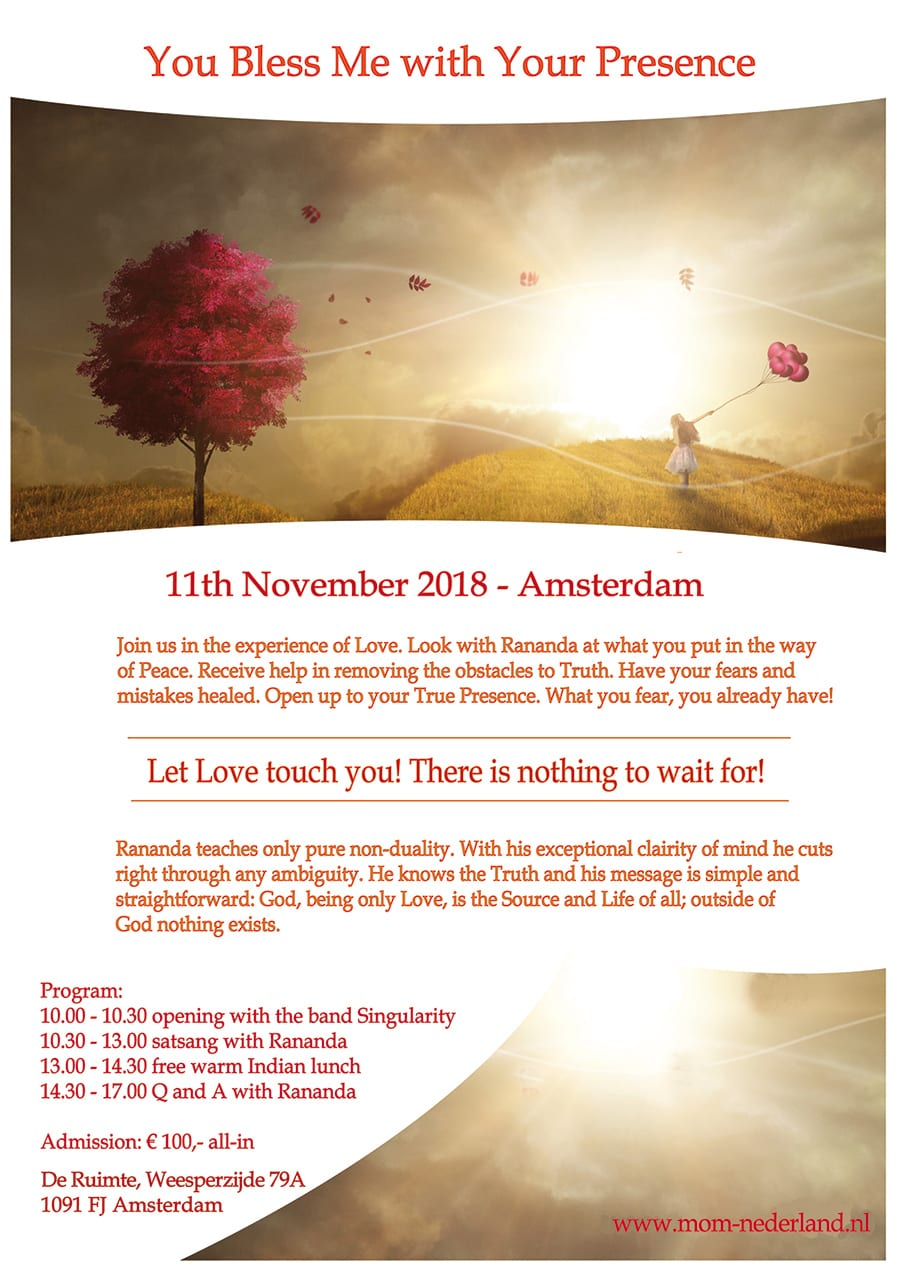11 November: You bless me dag in Amsterdam inklusive Satsang