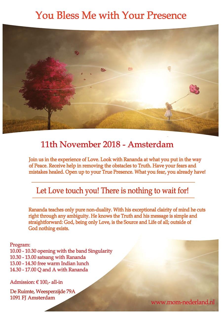 11 November: You bless me dag in Amsterdam inklusive Satsang